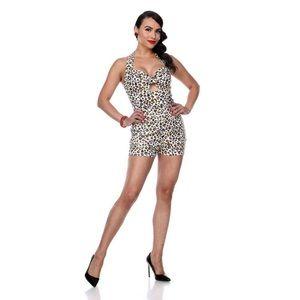 Bettie Page Leopard Playsuit